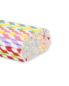 Caña de Cartón Rayas Colores Boca Ancha 230mm